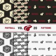 Set of american football patterns. Usa sports seamless background collection Stock Illustration
