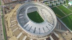 Flight over stadium under construction in Krasnodar Stock Footage