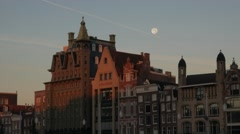 Gabled houses and full moon Amsterdam - stock footage