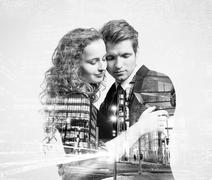 Double exposure of beautiful young couple Stock Photos