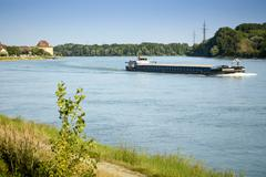 Barge on the blue Danube Stock Photos