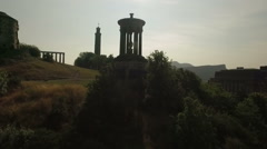 Incredible shot of Calton hill, Edinburgh, Scotland Stock Footage