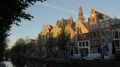 De Oude Kerk and Canal, Amsterdam Stock Footage