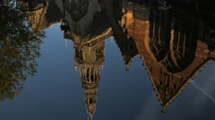 Reflections in a canal of De Oude Kerk Stock Footage