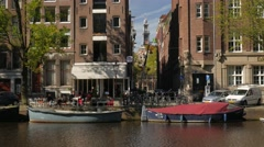 View across Singel Canal to de Keyser Church Stock Footage