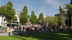 Pan across the north side of Rembrandtplein Stock Footage