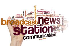 News station word cloud concept Stock Illustration