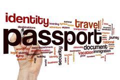 Passport word cloud concept - stock illustration