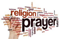 Prayer word cloud concept - stock illustration