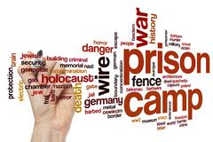 Prison camp word cloud concept - stock illustration