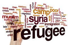 Refugee word cloud concept Stock Illustration