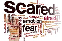 Scared word cloud concept Stock Illustration