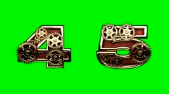 Stock Video Footage of mechanical alphabet with rotate gears on green chromakey