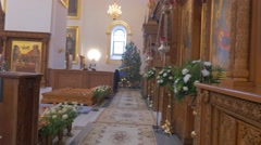 Impressive Decoration of an Orthodox Church, People Inside of It, Looking Stock Footage