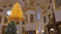 People Inside of an Impressive Christian Orthodox Church, With Sparklig Golden Stock Footage