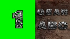 Mechanical alphabet with rotate gears on green chromakey Stock Footage