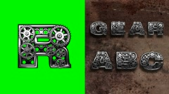mechanical alphabet with rotate gears on green chromakey - stock footage