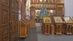 A Grand Looking Iconostasis With a Lot of Saints and Splendid Icons Before it Stock Footage