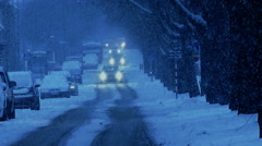 Heavy snowfall on street in old suburb with villas. Stock Footage
