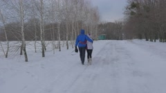 A Man and a Woman Walk Arm in Arm Along the Road Man in Blue Winter and Woman Stock Footage