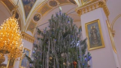 An Impressive Fir Tree and a Splendid Chadelier, Which Decorate an Old Orthodox Stock Footage