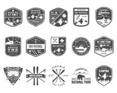 Set of Ski Club, Patrol Labels. Vintage Mountain winter camp explorer badges - stock illustration