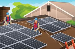 Workers Installing Solar Panels on Roof - stock illustration