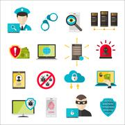 Internet safety icons virus cyber attack Stock Illustration