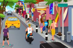 Tourist Walking Around Souvenir Shops Stock Illustration