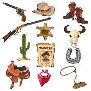 Stock Illustration of American Old Western Icons