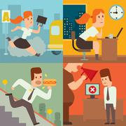 Business work time lag delay vector illusutration - stock illustration
