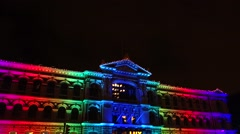 Stock Video Footage of EDITORIAL: Multicolored Ateneum Art Museum at the Lux Helsinki festival