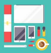Flat style mockup design templateign Stock Illustration