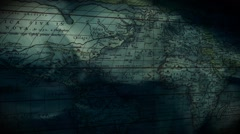Old 'Ortelius' Map Graphic with Animated Waves / Water Effect - Slow Pan Stock Footage