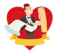 Stock Illustration of Wedding couples cartoon style vector illustration