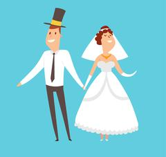 Wedding couples cartoon style vector illustration Stock Illustration