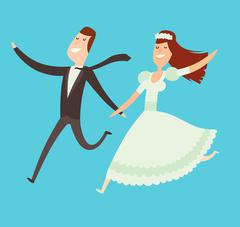 Wedding couples cartoon style vector illustration - stock illustration