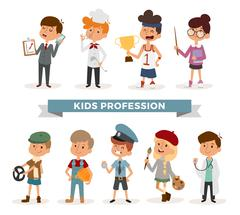 Set of cute cartoon professions kids - stock illustration