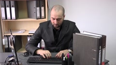Self employed entrepreneur at the office typing on keyboard email partners 4k Stock Footage
