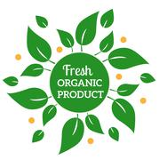 Natural eco organic product label badge vector icon Stock Illustration