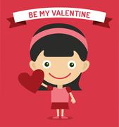 Cute cartoon girl with heart vector illustration - stock illustration