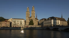 TIMELAPSE Day-Night Zurich Grossmünster Stock Footage