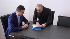 Angry manager arguing with executive, furious mistakes getting fired, discussion - stock footage