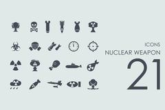 Set of nuclear weapon icons - stock illustration