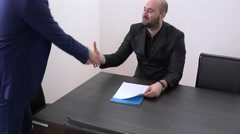 Interviewed candidate meeting with business man open position eager opportunity  Stock Footage