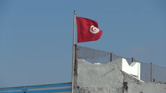 Flying Flag Of Tunisia Stock Footage