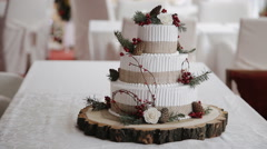 Wedding cake with berries Rustic Stock Footage