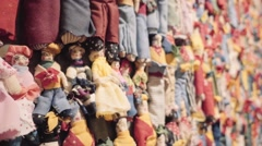 Handmade cloth dolls - stock footage