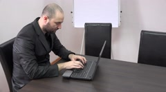 Stock Video Footage of Business person big success earn money very happy, check laptop, hands in air 4k
