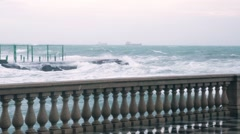 Huge stormy sea along a surreal seaside in Italy Stock Footage